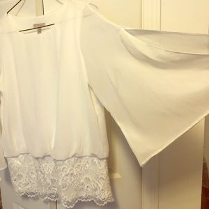 Dress blouse, cream with lace on trim